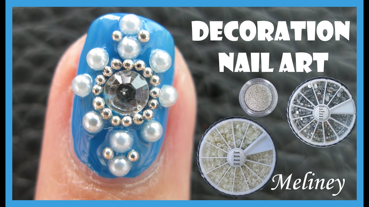PEARL BEADS & RHINESTONES WINTER DECORATION NAIL ART NO BRUSH ...