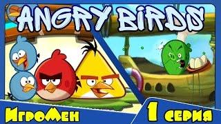 Мультик ИГРА для детей - Энгри Бердс. Прохождение ИГРЫ Angry Birds - 1 серия