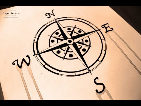 Drawing a Compass (Naval, Nautical, Maritime Compass) Ink + Watercolour