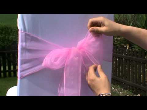 tulle chair covers for wedding black with purple sash - how to tie an organza youtube