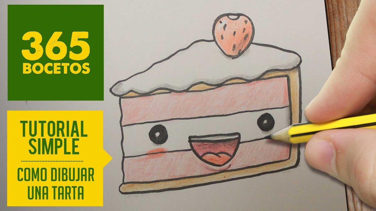 Dibuja Y Colorea Torta De Cumpleaños: COMO DIBUJAR UNA TARTA KAWAII PASO A PASO