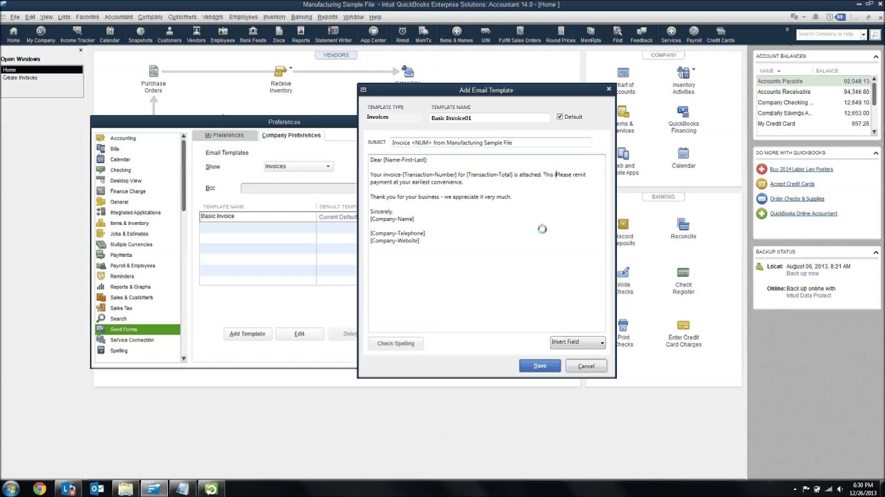 Customize Email Templates In Quickbooks Youtube