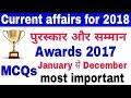 करंट अफेयर्स 2017-18/पुरस्कार और सम्मान 2017/Current affairs 2017/Award & Honour 2017