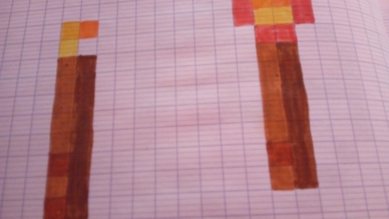Tuto Dessiner Les Deux Torches De Minecraft Youtube