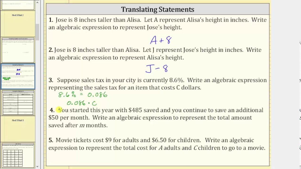 Translating Statements to Algebraic Expressions (Applications) - YouTube