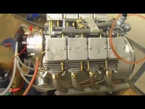 Homemade air cooled v8 motorcycle engine, first start
