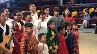 HH Sakya Trichen Rinpoche Cultural Exchange Santa Fe Indian School  - Tibetan Children Sing