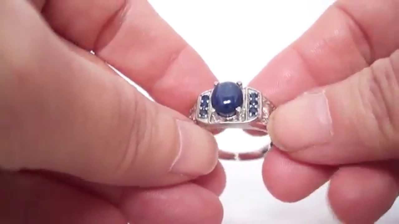 Blue Star Sapphire & Kanchanaburi Blue Sapphire Men\'s Ring & Plat ...