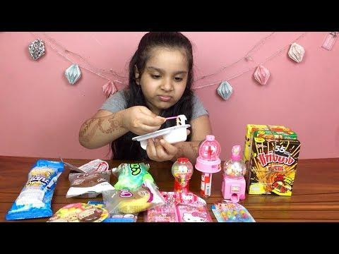 تجربة حلويات يابانية وكورية غريبة!! ايسكريم بالرز ! شفا غنت أغنية يابانية رهيبة! japnese candy