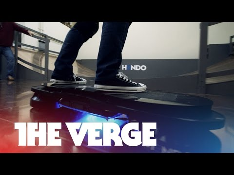 Riding the Hendo hoverboard