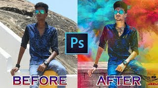 Photoshop Holi Color Edition | How to edit photo with Photoshop and Effects Tutorial| Photoshop 2017