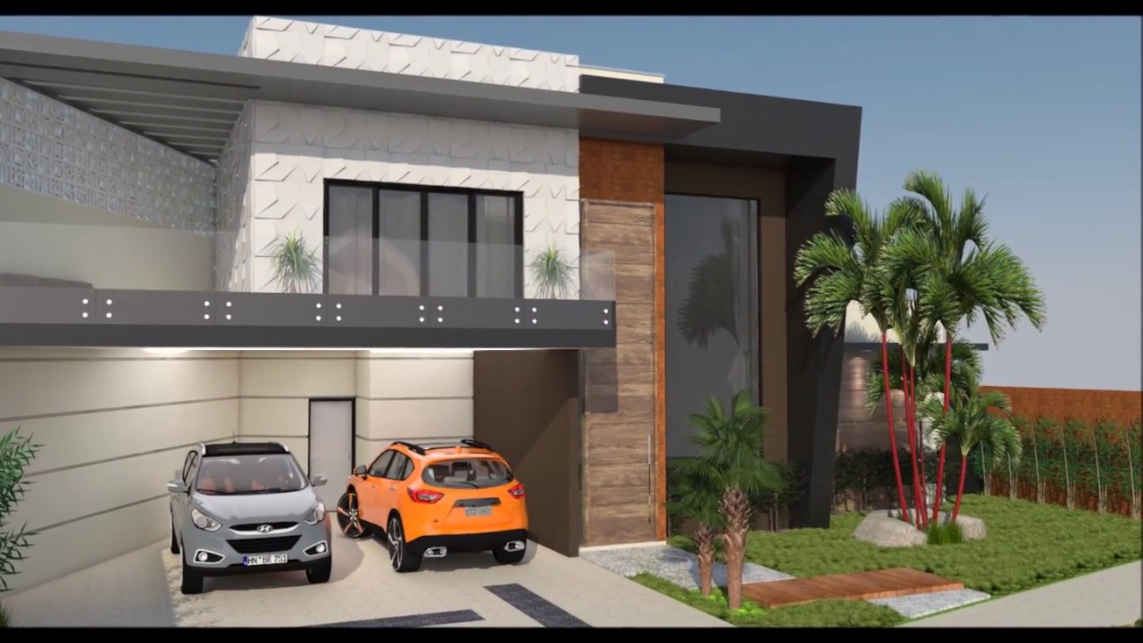 Projeto casa t rrea com mezanino e fachada moderna for Fachadas contemporaneas para casas