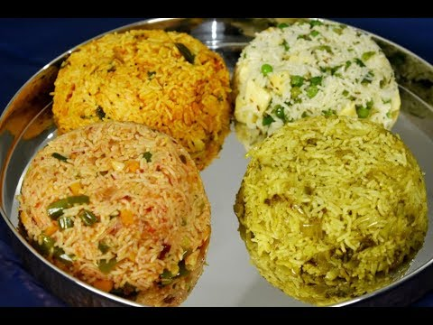 4 quick lunch box rice recipes | 4 easy rice recipes | lunch box ideas