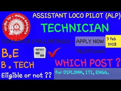 Railway ALP & Technician 2018 – B.E/B.TECH eligible ? which post for DIPLOMA, ITI & ENGINEER ? 26502