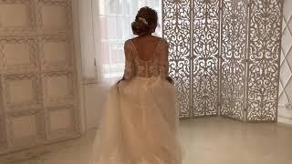 Пышное свадебное платье с рукавами Афина