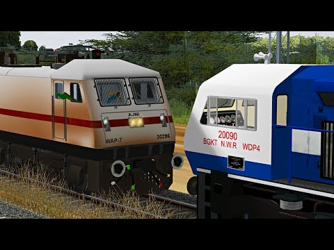 Loco Failed of Pushpak Superfast Express || Rescue By BGKT WDP4 || MSTS Open Rails Journey Part 1