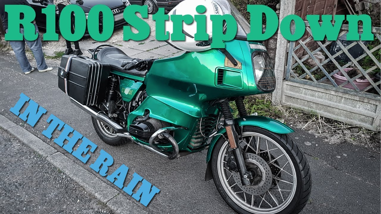 Stripping a BMW R100 - IN THE RAIN - Faring removal