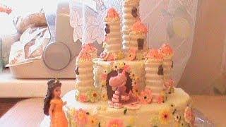 Торт-замок с секретом для девочки