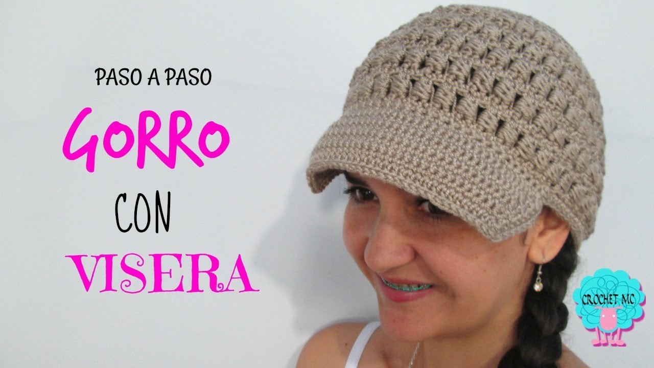 Tutorial gorro con visera a crochet en todas las tallas - YouTube dbe6d8c6d46