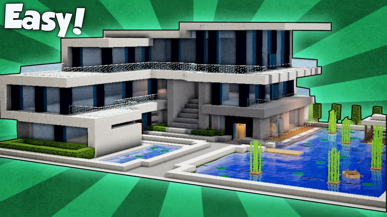 Minecraft  How To Build A Large Modern House - Tutorial   9  2018