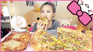 PIZZA HUT STUFFED CRUST PIZZA + MARINARA PASTA | MUKBANG