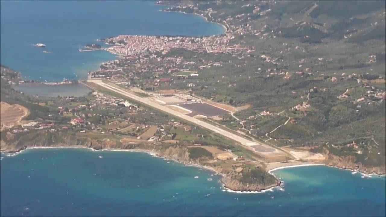 Aeroporto Skiathos : Skiathos airport landing thomson airways youtube