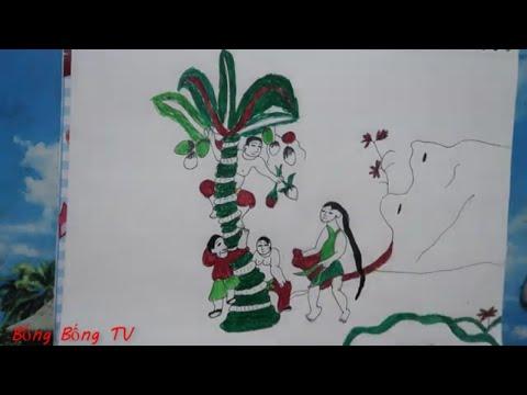 vẽ tranh dân gian đông hồ - cách vẽ và tô màu tranh dân gian việt nam,tranh Đông Hồ ,Hứng Dừa