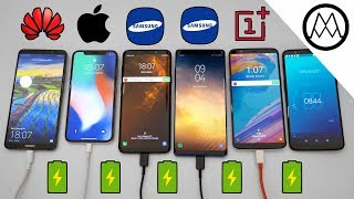 Samsung S9 / S9+ vs Mate 10 Pro vs iPhone X Charging SPEED Test