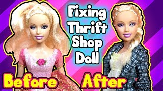 DIY Thrift Shop Barbie Doll Makeover - Hairstyles and Dress Up
