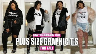 HOW TO FASHIONABLY STYLE PLUS SIZE GRAPHIC T SHIRTS FOR FALL  (OUTFIT IDEAS)
