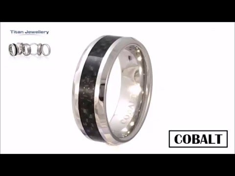 Men's Black Carbon Fibre Inlay Cobalt Chrome Ring