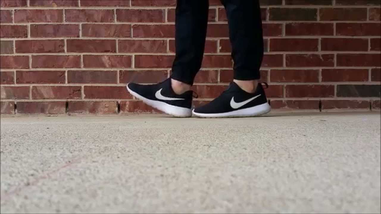 3cde4be9490d Nike Roshe Run Slip-On in Black (ON FEET) - YouTube