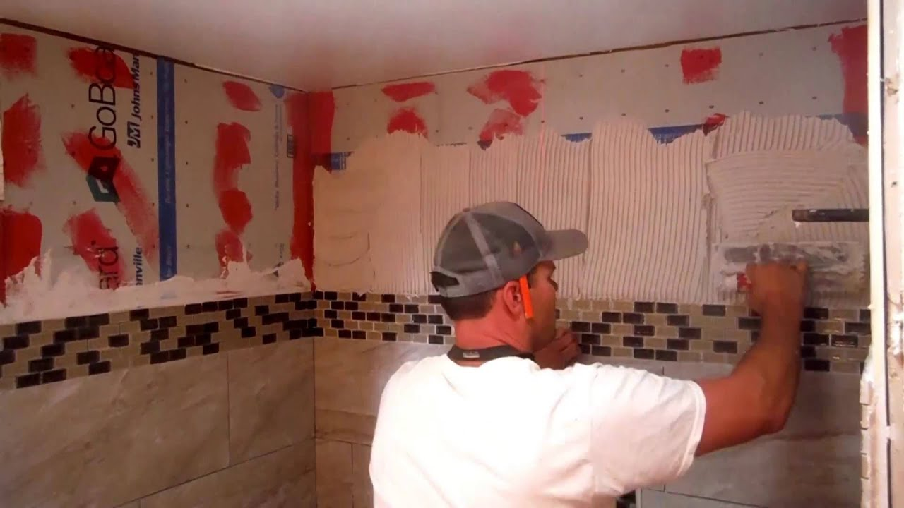 Installing Porcelain Wall Tile on Go Board Tile Backer Board - YouTube