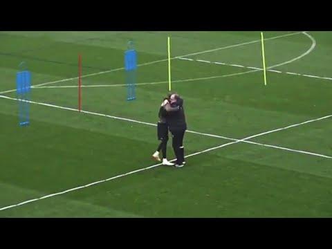 Marcelo Bielsa celebrates Patrick Bamford's goal in training   Leeds United 2018/19