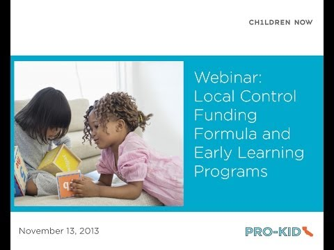 Local Control Funding Formula and Early Learning Programs