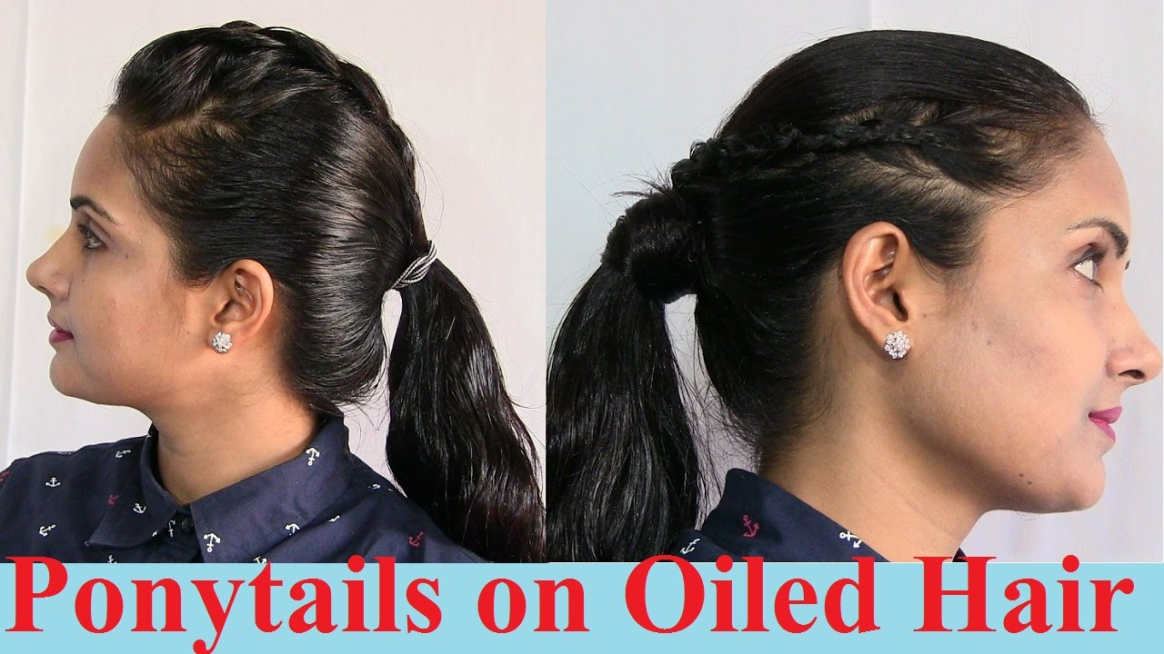 high ponytails hairstyles on oiled and oily hair - long, medium and short hair ponytail