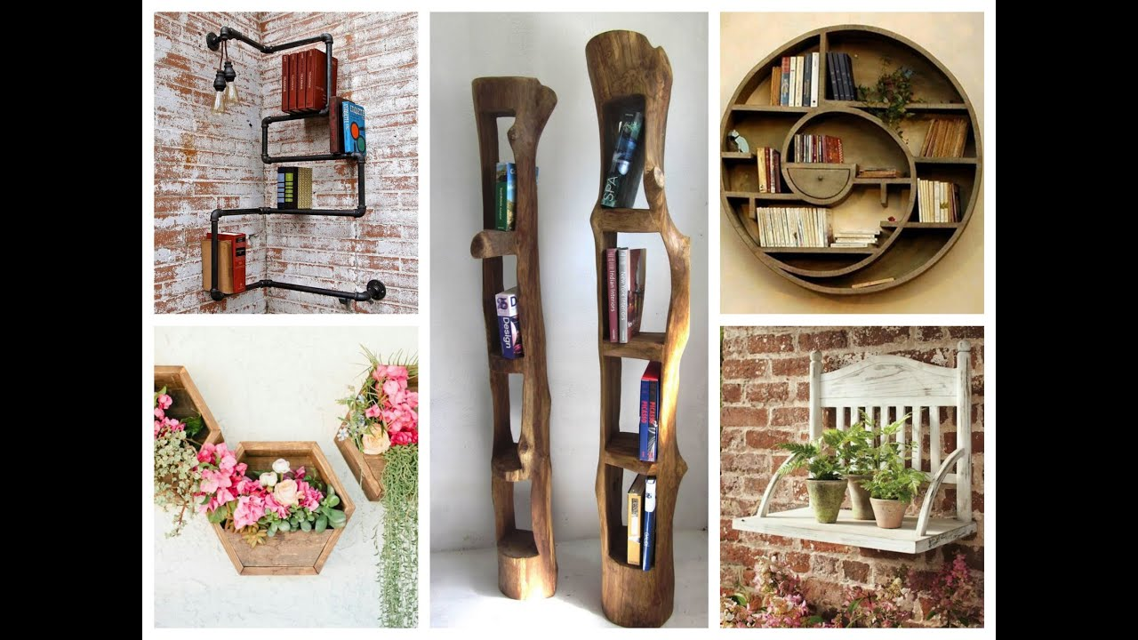 Creative wall shelves ideas diy home decor youtube for Home decorations unique