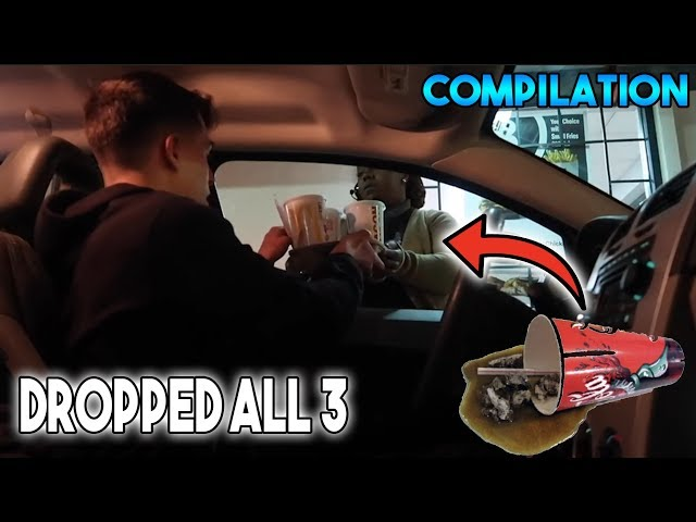 DROPPING DRINKS IN THE DRIVE THRU COMPILATION! (HILARIOUS)