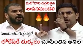 Anil Kumar Yadav Strong Counter To Nara Lokesh Heated Arguments in Counsil Political Nagar