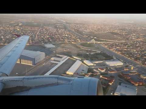 Take off Qatar Airways Baku Azerbaijan A320 NEW Business Class