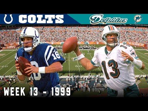 Young Peyton Duels Veteran Marino! (Colts vs. Dolphins, 1999) | NFL Vault Highlights