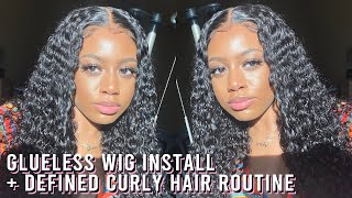 GLUELESS WIG INSTALL + CURLY HAIR ROUTINE (DEFINED) | JERRY CURL | www.bailinicole.com