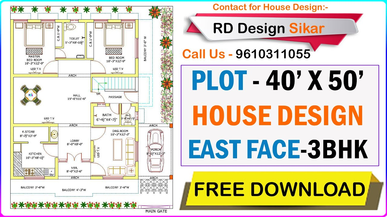 40 X 50 East Facing House Plans Floor Plan Design