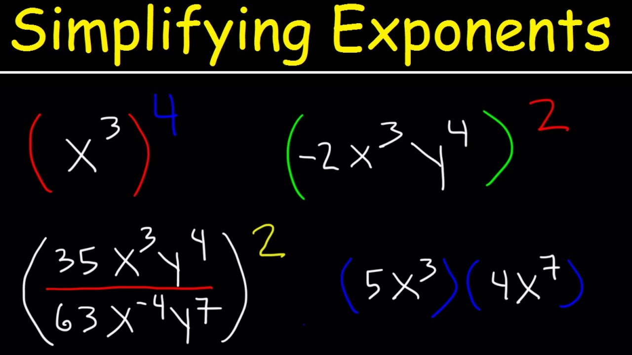 Simplifying Exponents With Fractions, Variables, Negative Exponents ...
