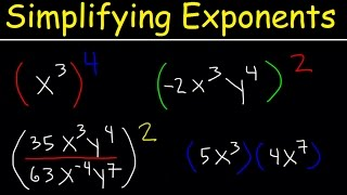 Simplifying Exponents With Fractions, Variables, Negątive Exponents, Multiplication & Division, Math