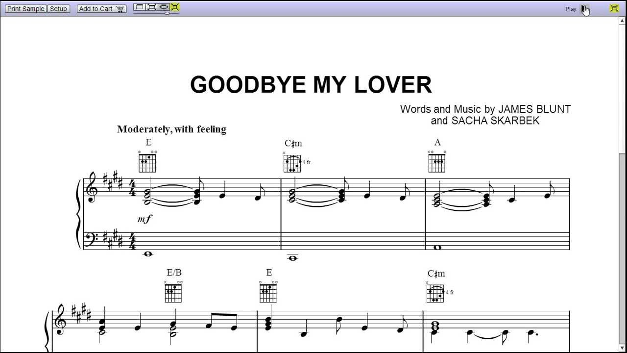 partition piano james blunt goodbye my lover