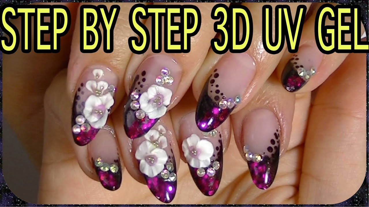 Nail art 3d uv gelpretty flowers youtube prinsesfo Gallery