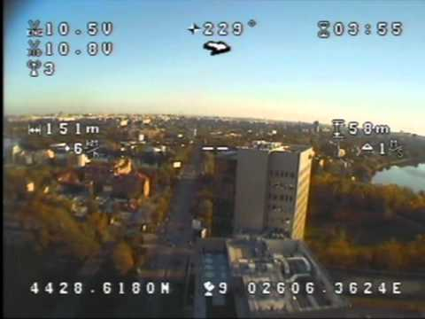 Aerial photography FPV flight from tricopter over Bucharest