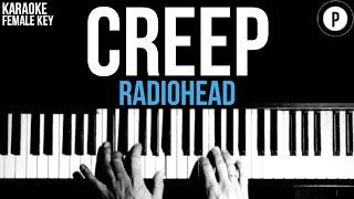 Radiohead - Creep Karaoke SLOWER Instrumental Acoustic Piano Cover Lyrics On Screen FEMALE KEY