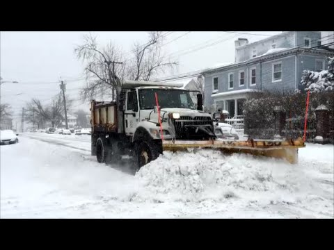 City Of Yonkers New York Plow Truck Plowing Snow During The Blizzard Snow Storm Jonas